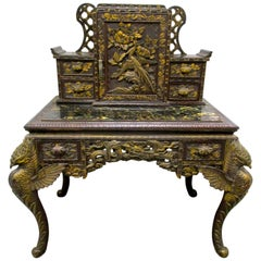 Asian Chinese Chinoiserie Carved Writing Desk Secretary