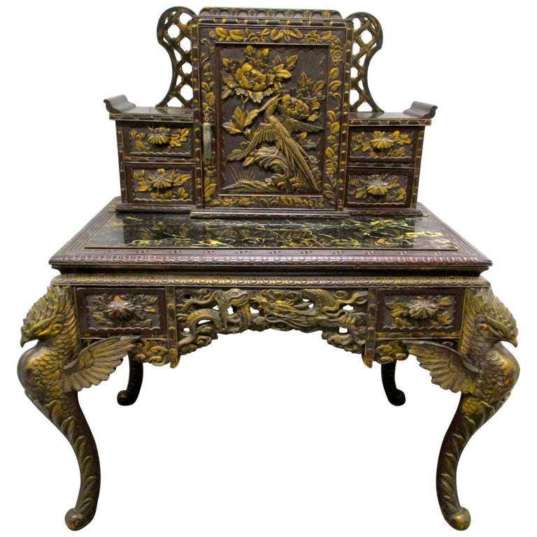 Asian Chinese Carved Writing Desk Secretary