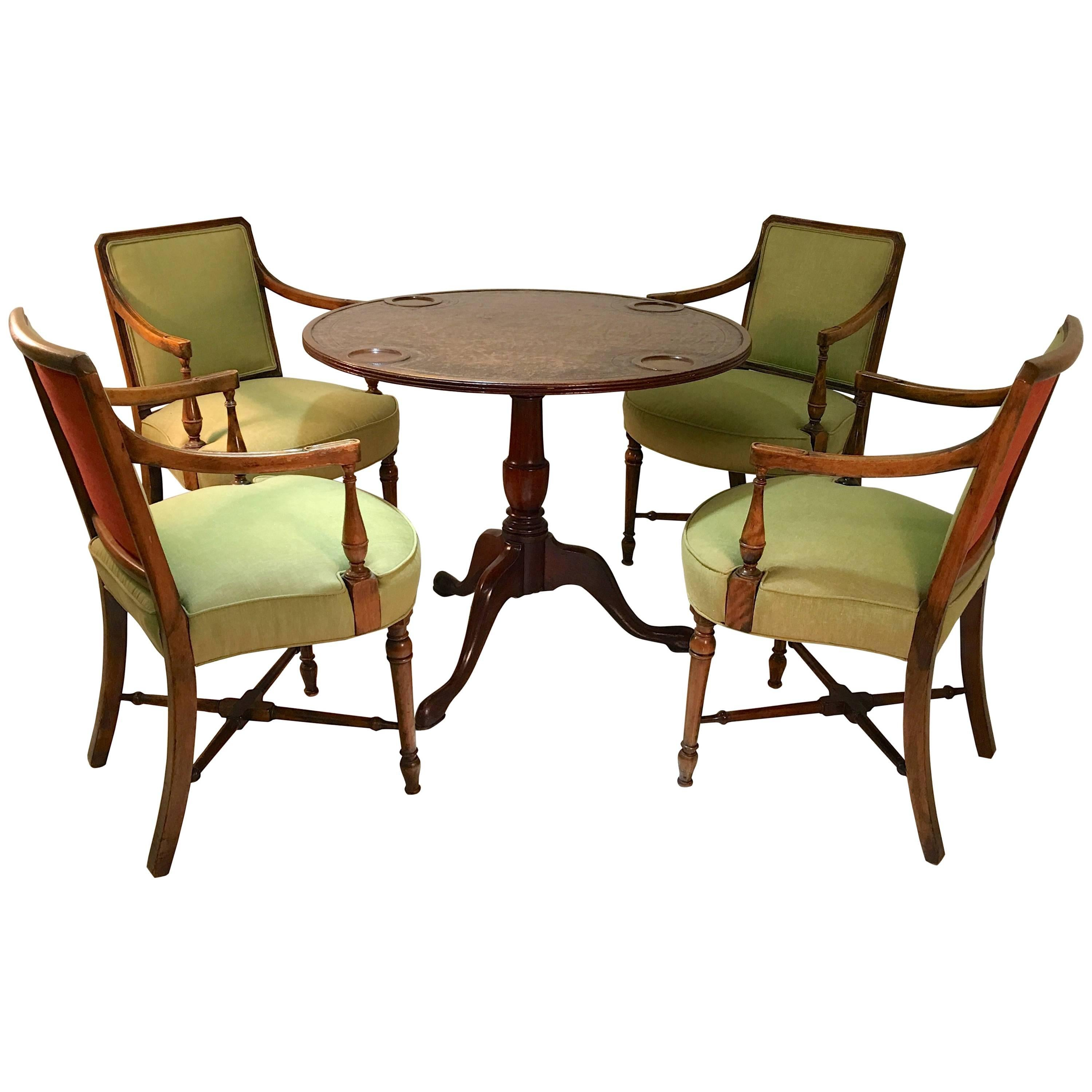 Sheraton Style Game Table and Four Armchairs
