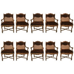 Ten Don Ruseau Provincial Caned Walnut Dining Armchairs (SATURDAY SALE)