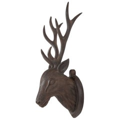 Black Forest Carved Wood Deer Head, Hand-Carved Antlers