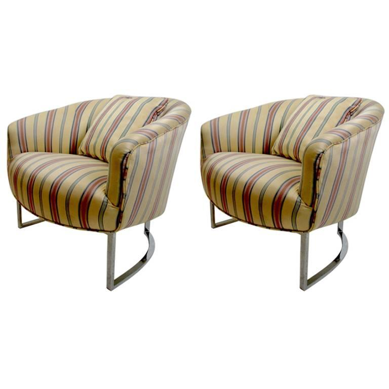 Pair of Milo Baughman Lounge Chairs with Chrome Legs