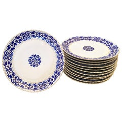 19th Century Dresden Hand-Painted Porcelain Plates Set of 12 by Fischer & Mieg
