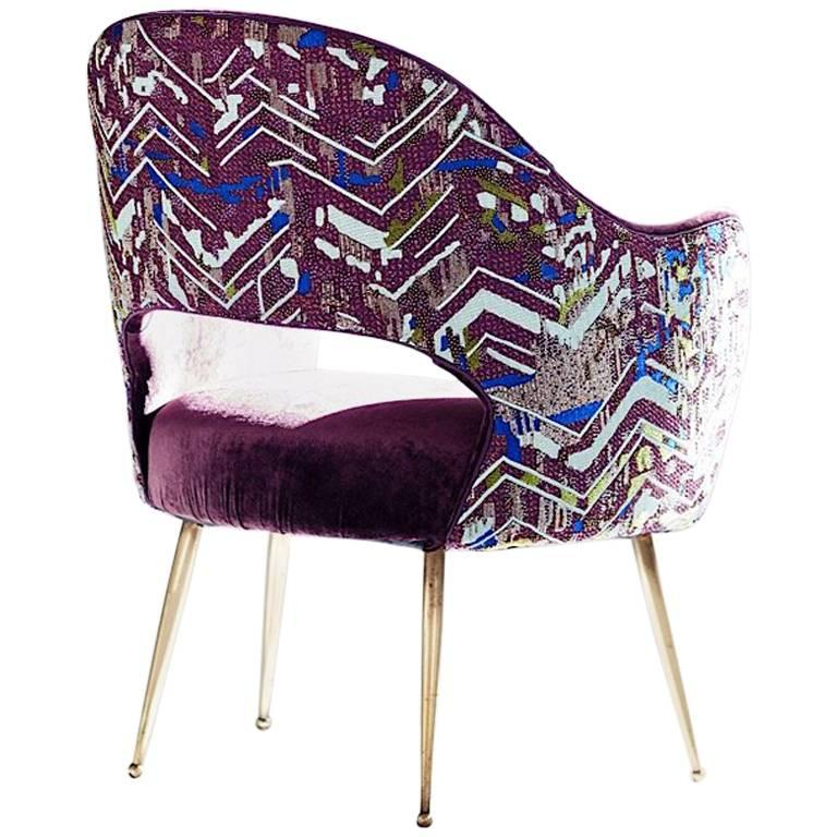 Hand Crafted Midcentury Chair Aubergine Velvet Textile Embroidered For Sale