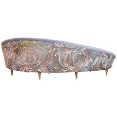 Midcentury Curved Sofa with Hand Embroidered Back by Geraldine Larkin