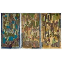 Geraldine Larkin Triptych of Hand Embroidered Wall Hangings 'Dawn-Day-Dusk'