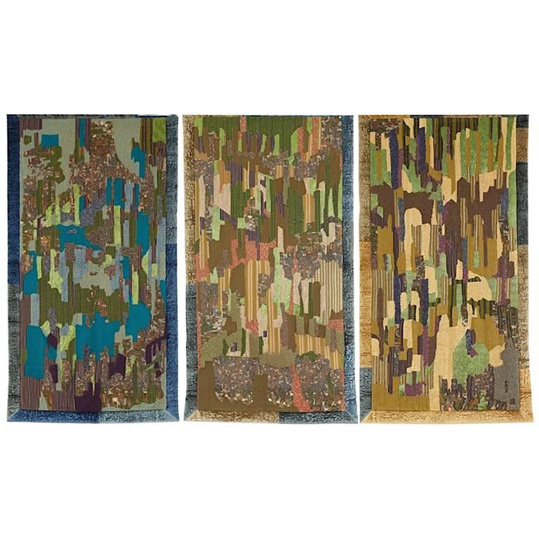 Hand Crafted Textile Tapestry  of Hand Embroidered Wall Hangings 'Dawn-Day-Dusk'