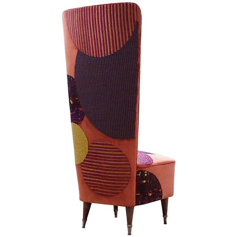 Hand Crafted Mid Century Chair Embroidered Orange Velvet With Circles For