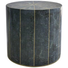 Tessellated Stone and Brass Inlay Oval Pedestal from Maitland-Smith
