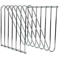 Vintage Modern and Industrial Style, Steel Chromed Magazine Rack by Arnal