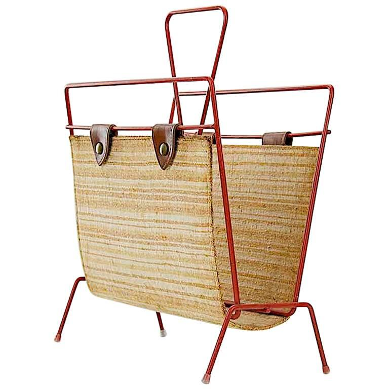 Vintage Straw, Leather and Painted Metal, Midcentury Magazine Rack For Sale