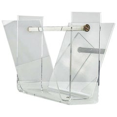 Vintage Thick Lucite and Chrome Steel Magazine Rack