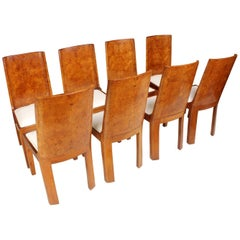 Art Deco Dining Chairs in Walnut Set of Eight