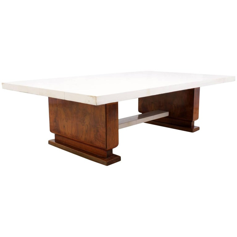 Art Deco Walnut and Parchment Coffee Table