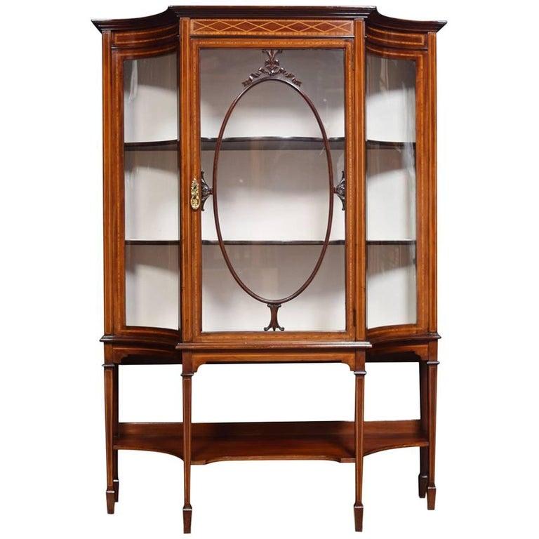 Edwardian Inlaid Mahogany Display Cabinet For Sale