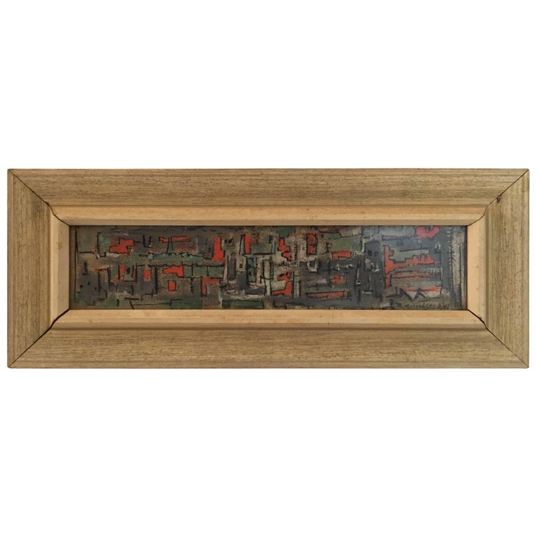 Bud Wolcott Cary 1961 Panoramic Cityscape Painting For Sale