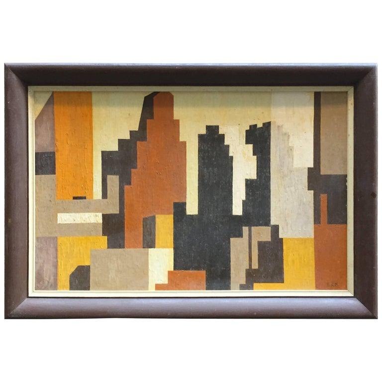 1950s Geometric Cityscape RKM For Sale