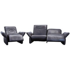 Koinor Elena Designer Sofa Set Leather Brown Two-Seat Couch Function
