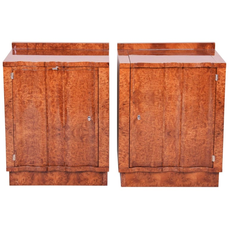 Pair of Art Deco Cabinets with Shelves from Czech Republic