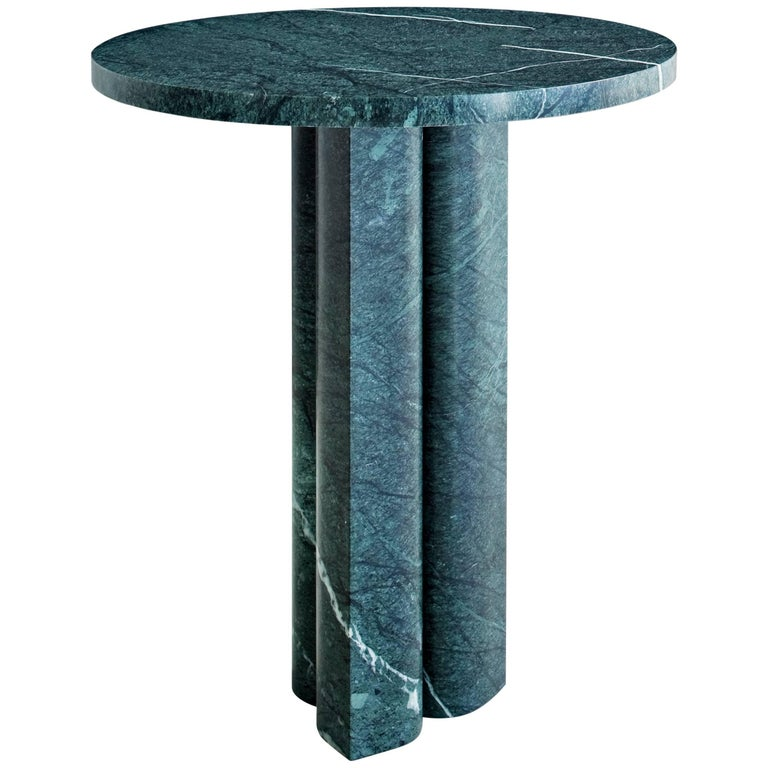 Salvatori 'Love Me, Love Me Not' Round Side Table in Verde Alpi Marble For Sale