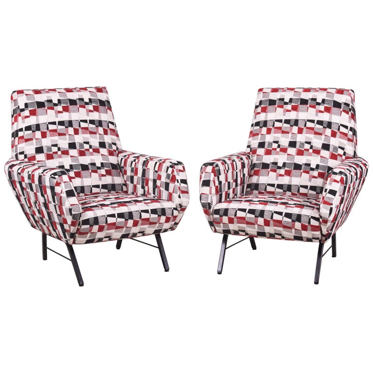 Pair of Mid century Italian Armchairs in the manner of Marco Zanuso, 1960s
