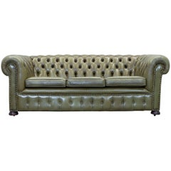 Chesterfield Leather Sofa Green Three-Seat Couch Vintage Retro