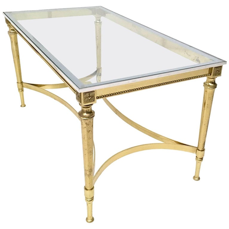 Crystal, Brass and Aluminum Coffee Table, Italy, 1950-1960s