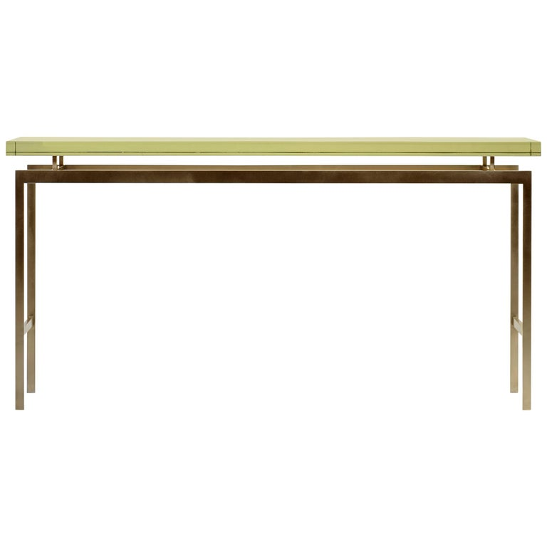 Duran Console or Sofa Table with Thick Mirrored Glass Top and Bronze Base