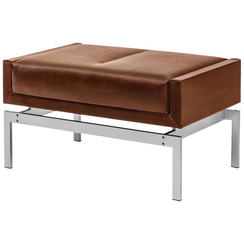 Olivera Ottoman with Nickel Base and Brown Leather, COM or COL
