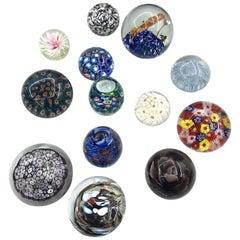 13 Paperweight Millefiori Collection in Italian Murano Glass Midcentury