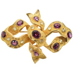 18-Karat Gold Brooch with Garnets and Chrysoberyls