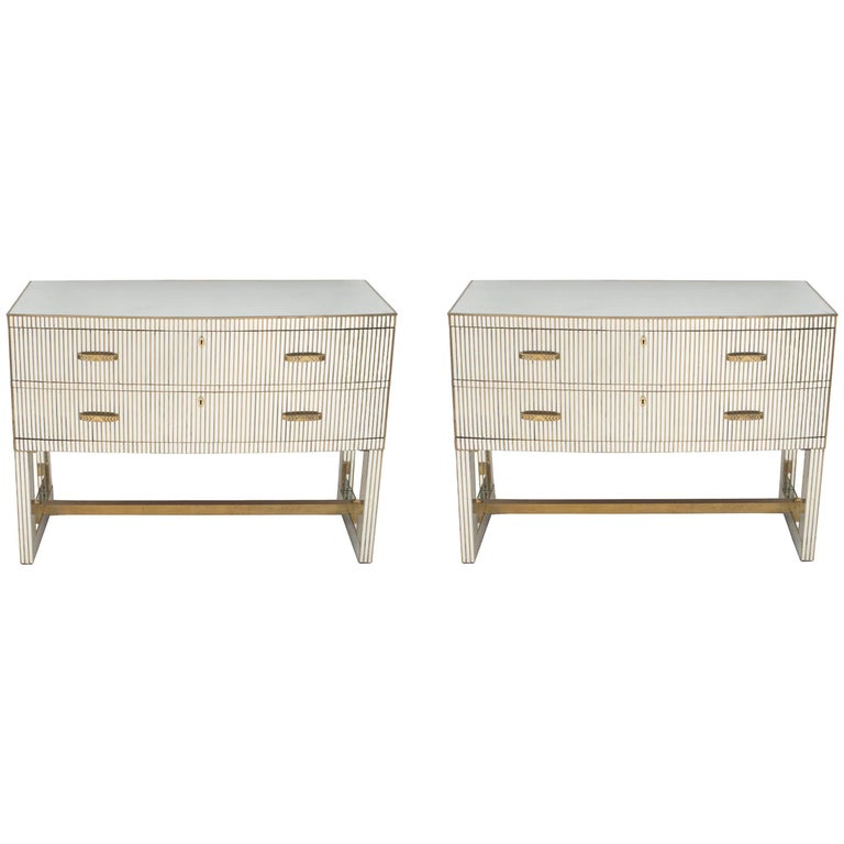 Pair of French Midcentury 1950s Bow Front Mirrored Chests