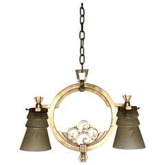 Highly Stylish 1920s Art Deco Era Vienna Bronze and Glass Pendant Light Fixture
