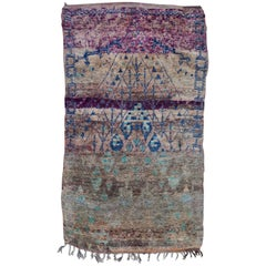 Vintage Moroccan Beni M'guild Rug, Indigo and Purple