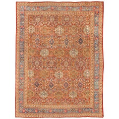 Late 19th Century Antique Sultanabad Persian Rug in Red and Light Blue