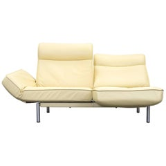 De Sede DS 450 Designer Leather Sofa Yellow Beige Relax Function Two-Seat Modern