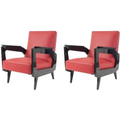 Pair of French Midcentury 1950s Black Lacquered Open Arm Chairs 'Scmit, Paris'