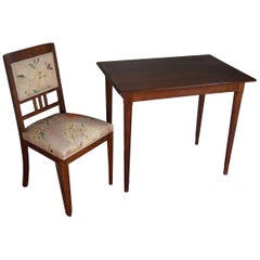 Antique Mother-of-Pearl Inlaid Arts & Crafts Writing Table with Matching Chair