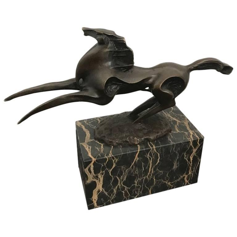 Abstract Modern Art Horse Stallion Bronze on Marble Base