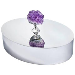 Héritage Lidded Hors d'oeuvres Dish in Amethyst and Silver, in Stock