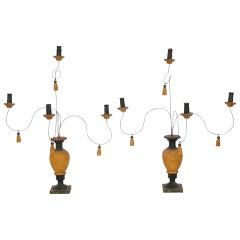 Pair of Turned Wood Paint Decorated Candelabra
