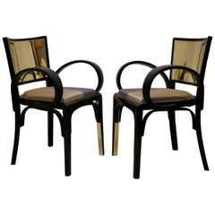 Pair Art Deco Black Lacquer and Brass Italian Armchairs, 1920