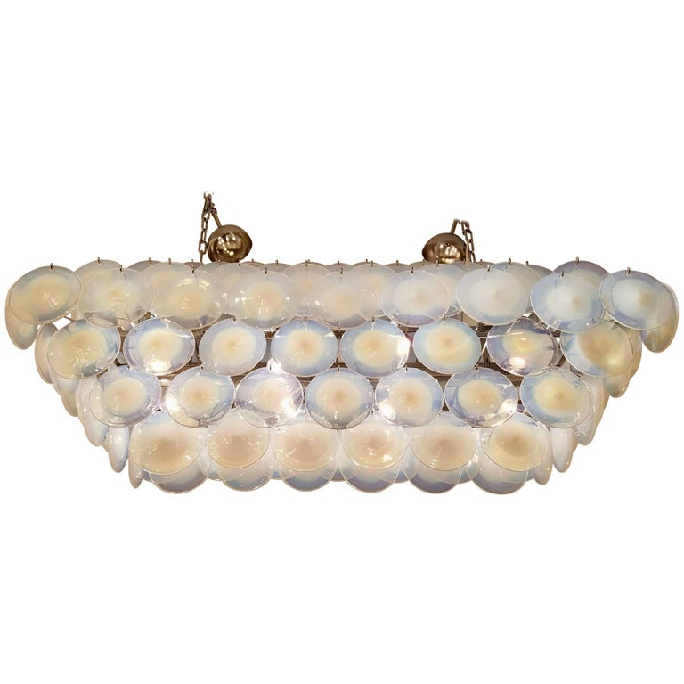 Large Rectangular White Vistosi Murano Glass Disc Chandelier For Sale