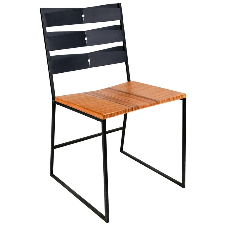 Chair 5 Diner with Blackened Steel and Bamboo Seat