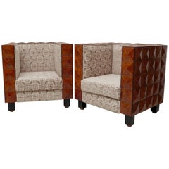 Pair of 1930s Cubic Italian Art Deco Armchairs
