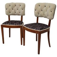 Pairs of Walnut and White Velvet Italian Midcentury Chairs