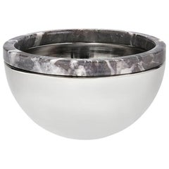 Dual Bowl in Carnico Marble and Polished Metal by ANNA new york
