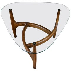 Adrian Pearsall Style Triangular Glass Top Side Table, Mid-Century Modern