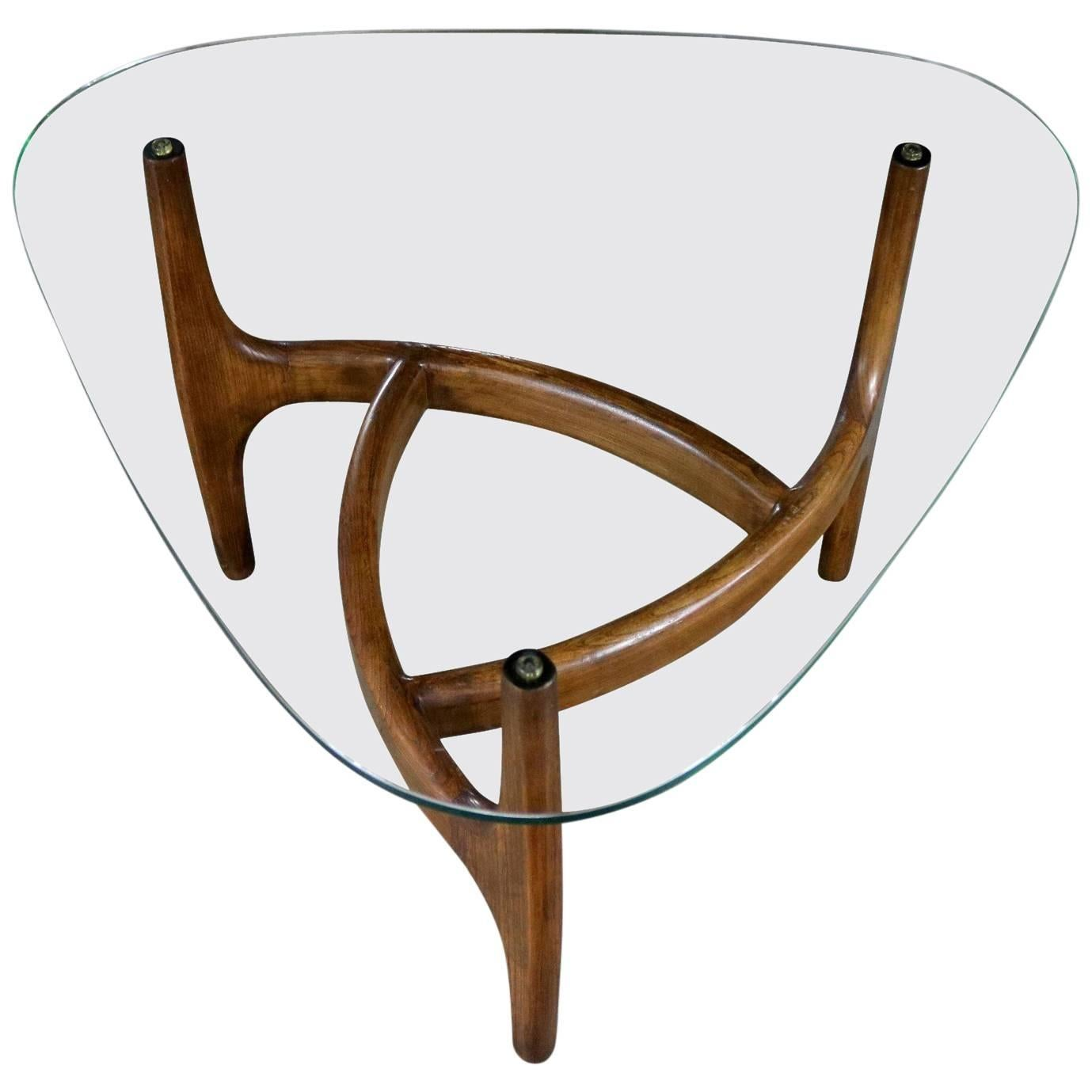 Adrian Pearsall Style Triangular Glass Top Side Table, Mid Century Modern  For Sale