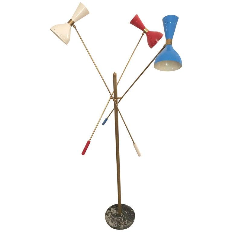 Italian Floor Lamp Stilnovo Style, Late 20th Century